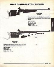 1992 RWS Diana Model 820L & 820F Match Rifle Ad w/specs & prices