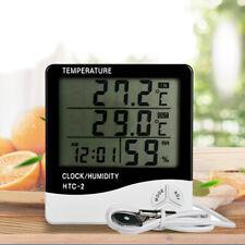 Indoor Outdoor Digital Temperature Humidity Meter Time Calendar Room Clock UK