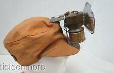 VINTAGE MINER'S SOFT CANVAS HAT w/ JUSRITE BRASS LAMP LIGHT ADJUSTABLE