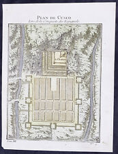 1755 Prevost & Schley Original Antique Plan of Cusco, Peru Spanish Conquest 1533