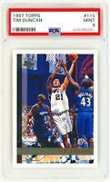 TIM DUNCAN Rookie Card 1997 Topps #115 PSA 9 RC Spurs 21 Jersey