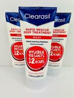 3X Clearasil Rapid Rescue Deep Acne Treatment Face Wash 6.78 oz 6/2022