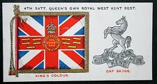 Royal West Kent Regiment   Colour and Cap Badge   Vintage Card  VGC