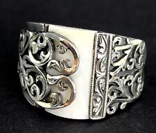 Sterling Silver 925 men ring ,ethnic design with mother of pearl naturel stone