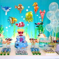 6Pack Marine Sea Animals Foil Balloons Shark Octopus Horse Tropical Fish Lobste