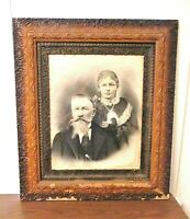 Antique 1850-1900 Victorian Wood & Gesso Picture Frame With Charcoal Portrait