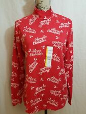 New listing Time And Tru Womens L Large T-Shirt Long Sleeve Mock Neck Fitted Christmas Red