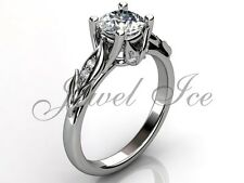 Platinum Forever One Moissanite Unique Floral Engagement Ring ERMZ-1047