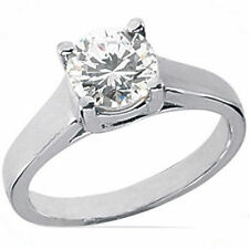 1 carat Round Diamond Wedding Engagement Solitaire Ring 14k White gold, D SI2