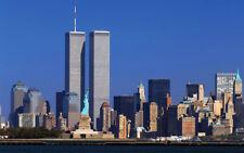 STAMPA SU TELA CANVAS NEW YORK SKYLINE TORRI GEMELLE CITTA' PAESAGGIO 60X100