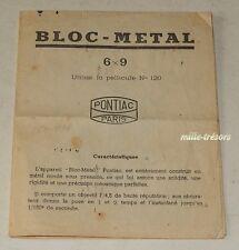 Mode d'Emploi : BLOC-METAL Folding 6x9 PONTIAC Paris - MANUFACTURE FRANCAISE