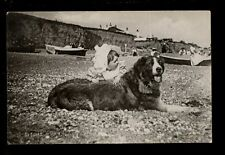 Children Study Beach On Guard dog Tuck Silverette #6540 PPC by Hessia used 1904