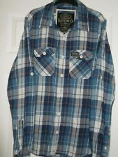 """Blue Check """"SuperDry"""" Lumberjack Style Shirt, Size XL - Pit to Pit 21"""" - 53cm"""