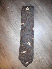 Looney Tunes Taz 100% Silk Necktie Tie w Brown Burgundy Slate Blue Design