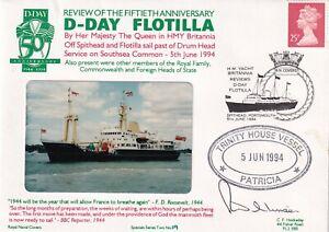 2RNCHSP4  50th Anniv D Day Flotlla  Trinity House Vessel Patricia Signed