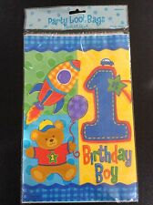 40 x Baby Boys 1st Birthday Party Loot Bags - Hugs & Stitches Design