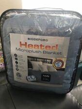 Biddeford Heated Microplush Blanket Blue Twin Size New!