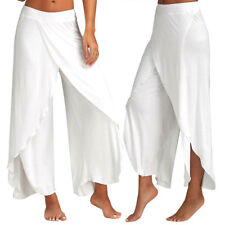 Womens Slit Flared Yoga Harem Pants Wide Leg Loose Chiffon Palazzo Trousers G108