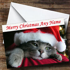 Cute Cat Wearing Xmas Hat Personalised Christmas Greetings Card