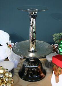 POTTERY BARN BLACK MERCURY GLASS PILLAR HOLDER – NIB – TAKE A PEEK, SLEEK & CHIC