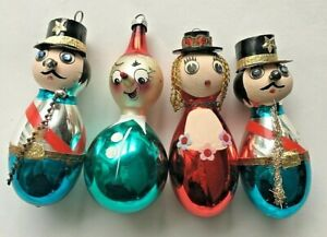 4 VINTAGE GLASS FIGURAL CHRISTMAS ORNAMENTS CLOWN POLICE GIRL 1950s