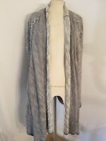 Free People Long Cozy In The Loop Open Cardigan Sz S Gray Knit Womens Sweater