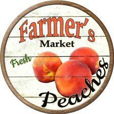 "Farmers Market Peaches 12"" Round Metal Kitchen Sign Novelty Retro Home Decor"