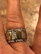 Sonia Bitton 14K approx 1 ctw diamond cigar band ring- size 8 - 12 grams YG