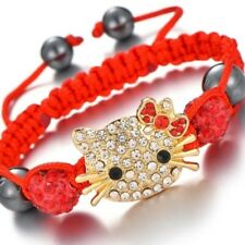 Hello Kitty Crystal Shambala Beaded Braided Bracelet in Red with Gold & White