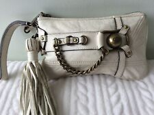 JUICY COUTURE real leather ladies white wristlet purse clutch bag