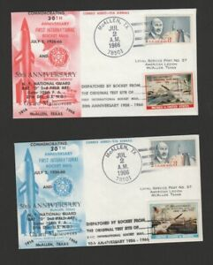US 1966 rocket mail Cinderellas set of 2 to Mexico/return- July 2- landed water