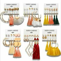 6Pairs Women Boho Tassels Crystal Pearl Earrings Set Stud Dangle Charm Jewellery