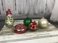 Holiday Christmas Tree 5 Set Merry Christmas Bulb Snowman Bells Ornaments