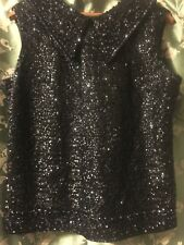 WOMEN'S VINTAGE 100% WOOL SEQUINS AND BEADS ZIP BACK  SLEEVELESS SWEATER  SIZE L