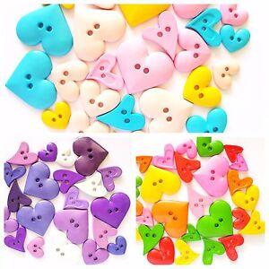 30 pcs Cute mix size big Heart Buttons 2 Holes assorted colors size 12 - 33 mm