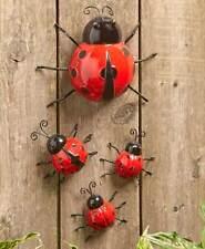 Sets of 4 Metal Ladybug Outdoor Hanging Fence Hugger Garden Statues