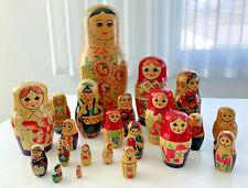 22 pieces Vintage Russian Matryoshka Wood Nesting Dolls Ussr Lot Multiple Sets