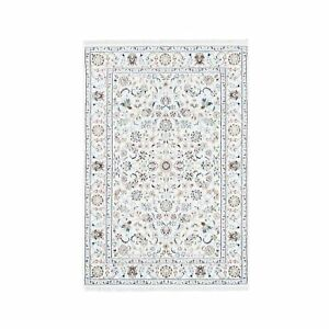 """3'9""""x6' All Over Floral Design Wool and Silk 250 KPSI Nain Handmade Rug R62735"""