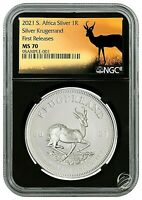 🇿🇦2021 South Africa 1 oz Silver Krugerrand Coin NGC MS70 FR BC Springbok Label