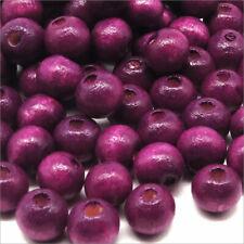 Lot de 100 Perles Rondes en Bois 8mm Violet prune