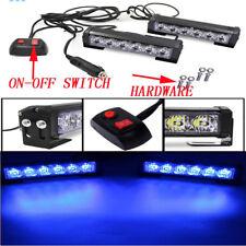 2Pcs Blue 6 LED Grille Bar Car Truck Strobe Flash Emergency Warning Light 12V