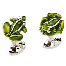 Deakin & Francis Sterling Silver Green Enamel Frog Toad Cufflinks Cuff Links NEW