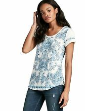 Lucky Brand - Womens S - NWT - Paisley Panel & Striped Mixed Print Tee/T-Shirt