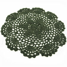 2x Handmade Crocheted Placemat Table Mat Cotton Doily Cup Kitchen Round 20cm Rose Red