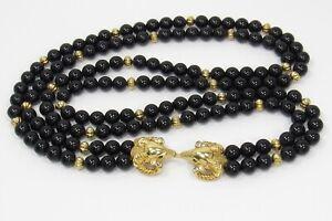 Vintage KJL Kenneth J Lane For Avon Gold N Black Ram Head 2 Strand Bead Necklace