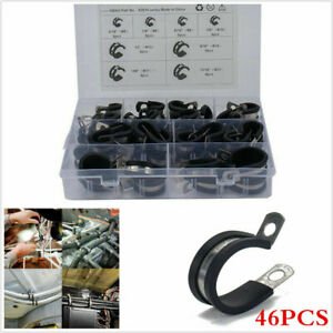 46PCS 8 Kinds Car Hose Cable Clamp Rubber Cushion Insulated Clamp Assortment Kit
