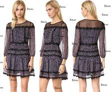 $498 DVF Diane von Furstenberg JAMIE CHIFFON LACE WRAP YOKE SILK DOT DRESS S 4