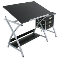 Adjustable Drawing Desk Drafting Table Art Craft W/ Drawers Black Studio Design