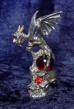 Pewter Gargoyle on Skull with Crystals - Red