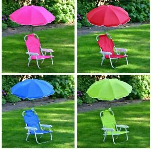 New Kids Children's Foldable Garden Chair and Parasol - Pink, Blue, Green, Red
